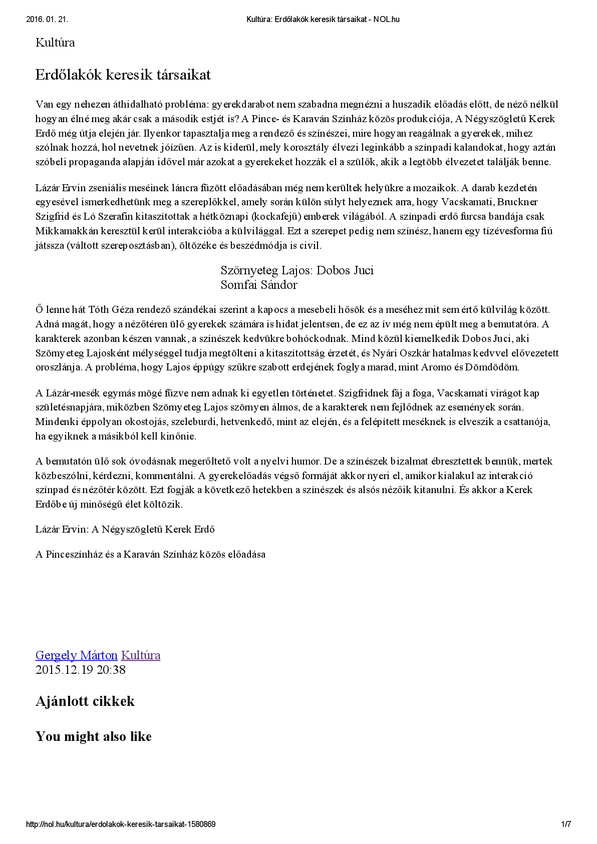 Kultúra_ Erdőlakók keresik társaikat - NOL-1-1-001