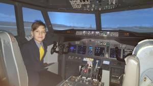Dudi a replőgép-szimulátorban, amikor 12 éves lett Fotó: Berecz Zsuzsi